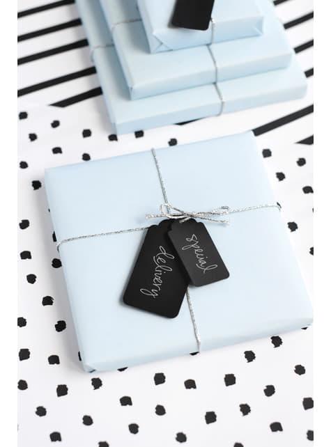 6 etiquetas negras rectangulares de papel - para tus fiestas