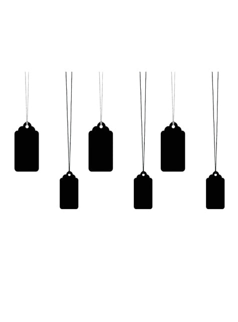 6 etiquetas negras rectangulares de papel - comprar