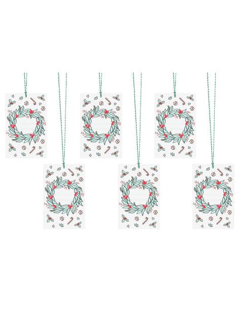 6 etiquetas blancas con corona navideña multicolor de papel - Merry Xmas Collection