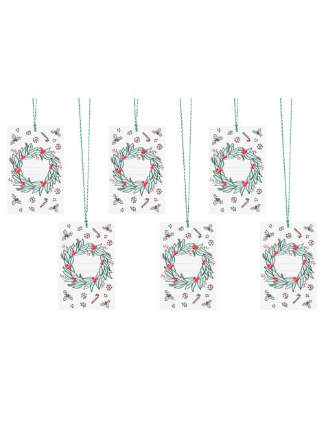 6 Christmas Wreath Paper Gift Tags, Multicolor - Merry Xmas Collection