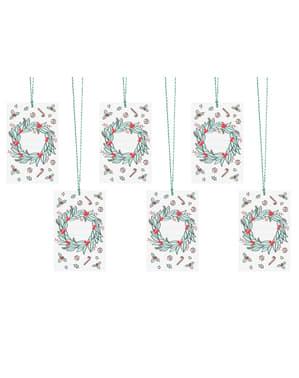 6 kerstkrans papieren cadeaulabels, multigekleurd - Merry Xmas-collectie