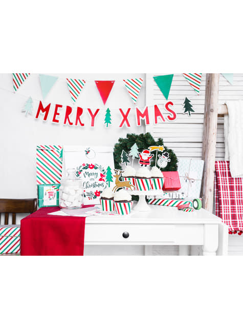 6 etiquetas blancas con corona navideña multicolor de papel - Merry Xmas Collection - para tus fiestas