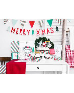 6 kolorowe papierowe etykiety do prezentów wieniec świąteczny - Merry Xmas Collection