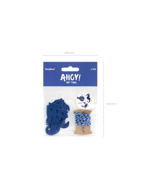6 etiquetas marinas de papel - Ahoy! Collection - para decorar todo durante tu fiesta