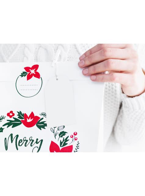 10 suorakulmaista nimilappua lahjoihin, valkoinen - Merry Xmas Collection