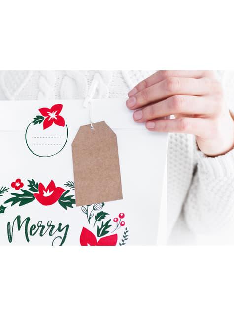 10 étiquettes rectangulaires en papier Kraft - Merry Xmas Collection