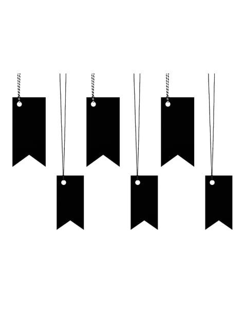 6 etiquetas tipo banderín negras de papel - para niños y adultos