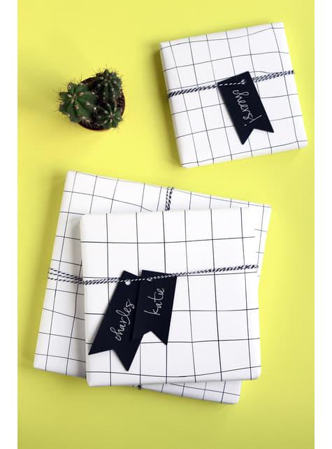 6 etiquetas tipo banderín negras de papel - barato
