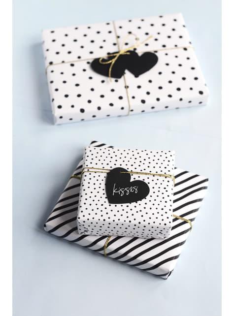 6 etichette a forma di cuore nero di carta