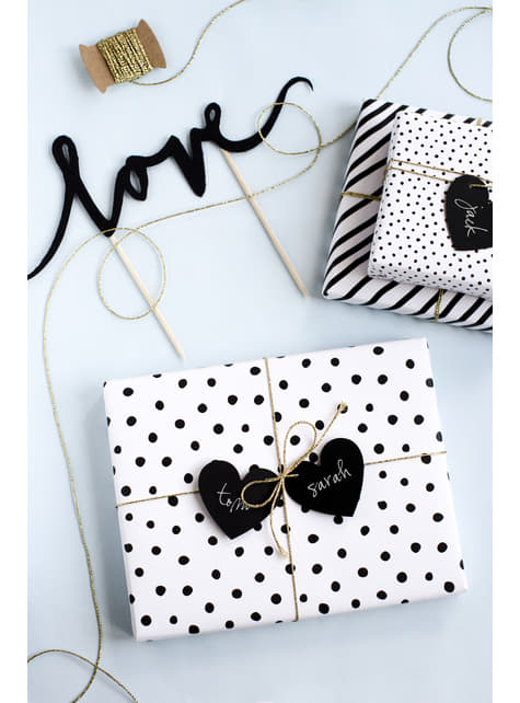 6 etiquetas con forma de corazón negro de papel