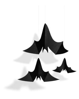 3 wiszące dekoracje nietoperze - Halloween