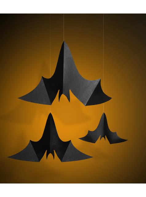 3 colgantes decorativos de murciélagos - Halloween - para tus fiestas