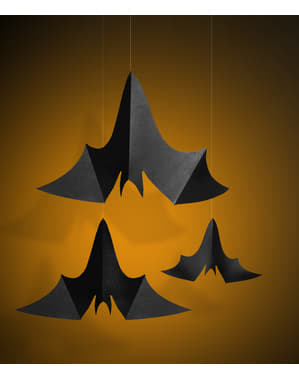 3 decorative hanging bats - Halloween