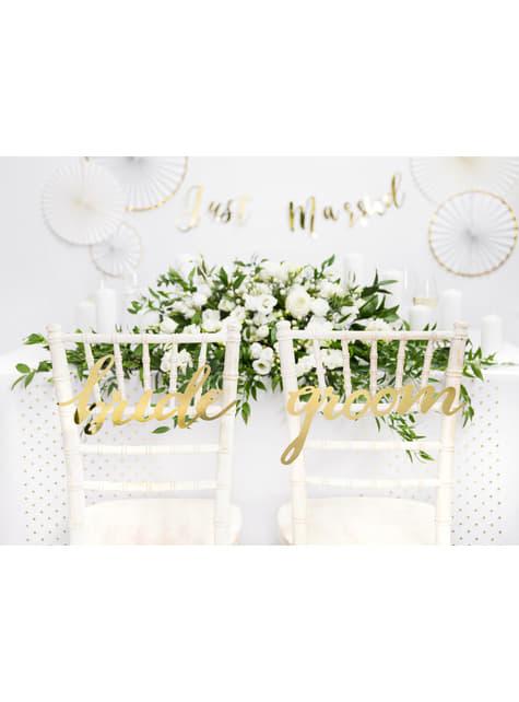 2 decoraciones para silla doradas