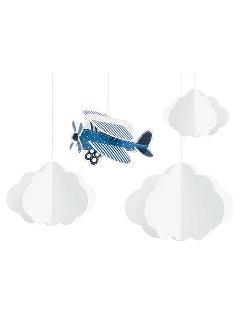 4 guirnaldas colgantes con nubes y avión de papel - Little Plane - para decorar todo durante tu fiesta