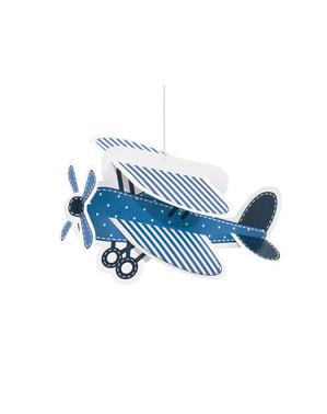 4 skyer og fly hængende papirdekorationer - Little Plane