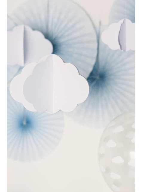 4 Clouds & Plane Paper Hanging Decorations - Little Plane