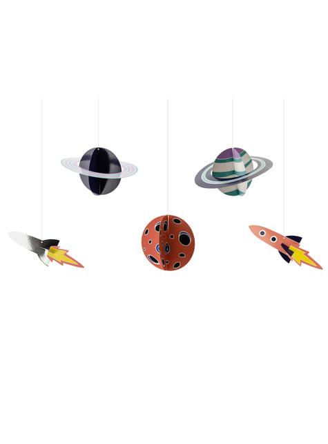 5 guirnaldas colgantes con figuras del espacio - Space Party