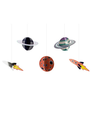 5 hangende slingers met ruimtefiguren - Space Party