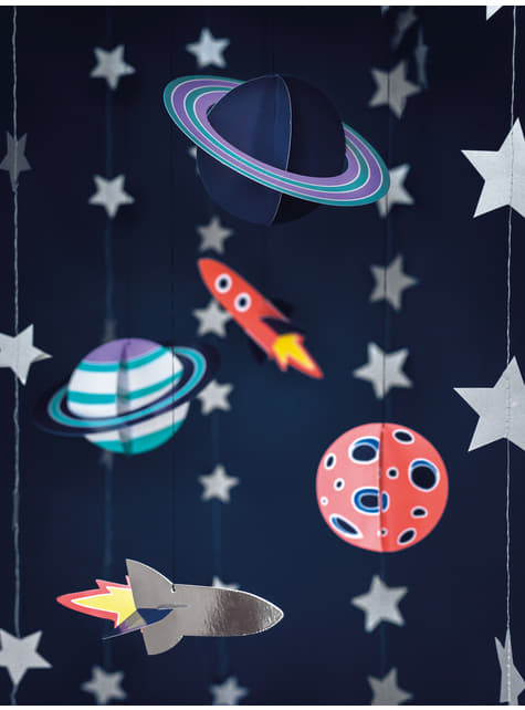 5 guirnaldas colgantes con figuras del espacio - Space Party - para tus fiestas