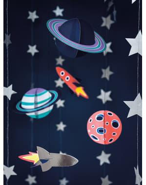 Set 5 karangan bunga gantung dengan figur ruang - Space Party