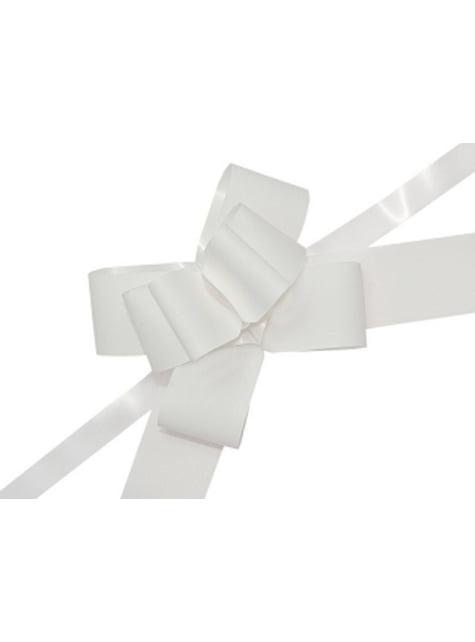 10 rubans nœud blancs de 5 cm