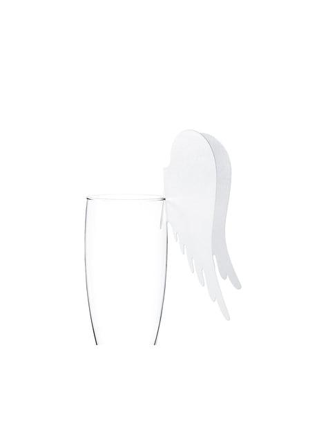 10 decorazioni per bicchieri a forma di ali in carta