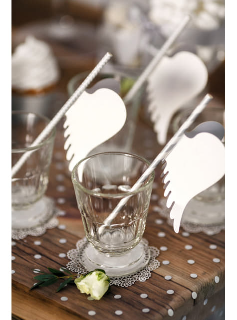 10 Angel Wings Paper Glass Decorations