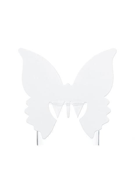 10 décorations de verre en forme de papillon blanc