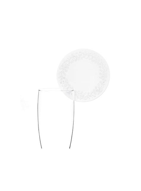 10 pyöreää lasikoristetta, valkoinen - First Communion