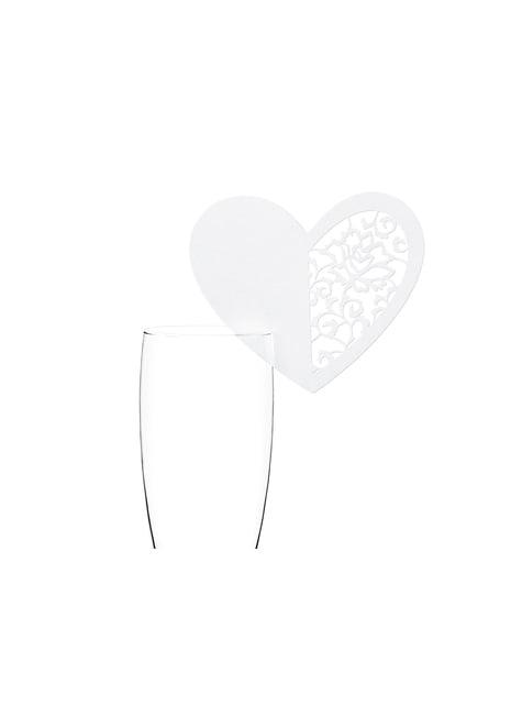 10 isoa sydämenmuotoista lasikoristetta, valkoinen