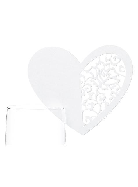 10 decoraciones para vaso con forma de corazón blanco grande