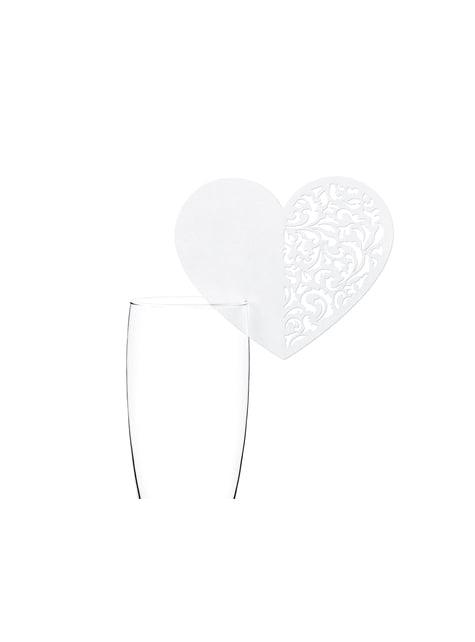 10 sydämenmuotoista lasikoristetta, valkoinen