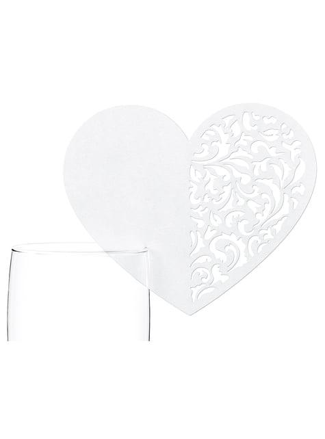 10 décorations de verre en forme de cœur blanc
