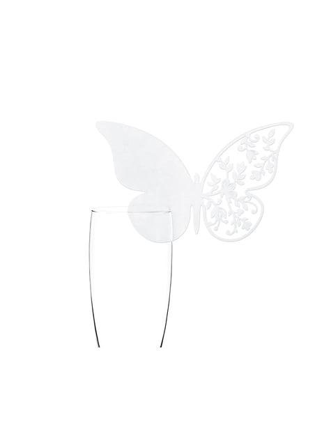 10 decoraciones para vaso con forma de mariposa y ala con flores blanca