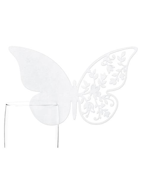 10 décorations de verre en forme de papillon aile avec fleurs blanches