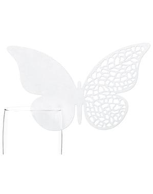 Set 10 bílých dekorací na sklenice ve tvaru motýla