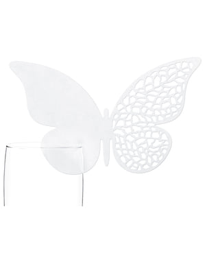 10 Butterfly Glass Decorations with Circles, White