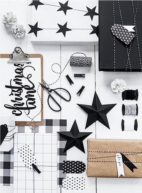 12 etichette bianche e nere con stampe di carta - Scandi Christmas Collection
