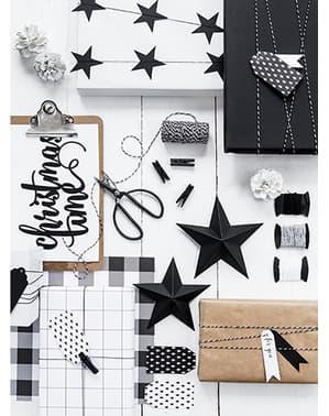 12 zwart & wit bedrukte papieren cadeaulabels - Scandi kerstcollectie