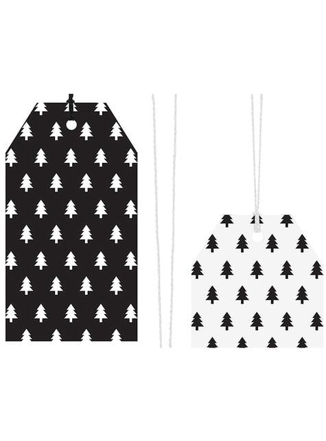 12 mustaa ja valkoista, paperista nimilappua lahjoille - Scandi Christmas Collection