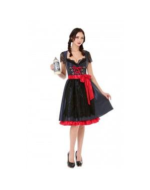 काले और लाल रंग में महिलाओं के लिए Oktoberfest Elegant Dirndl