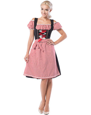 Макси дамска баварска дриндл носия за Октоберфест– черно и червено