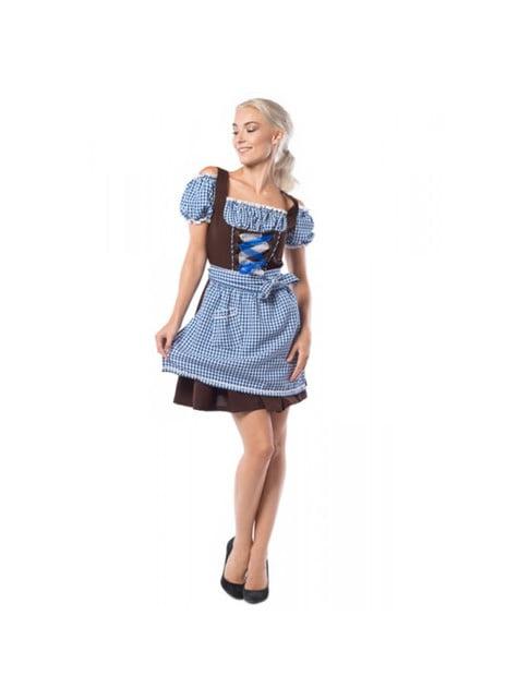 Plus Size Oktoberfest Dirndl for Women in Brown & Blue