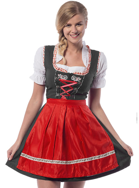 Oktoberfest Dirndl for Women in Black & Red
