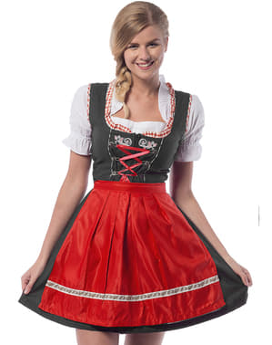 Dirndl Oktoberfest rosso e nero da donna