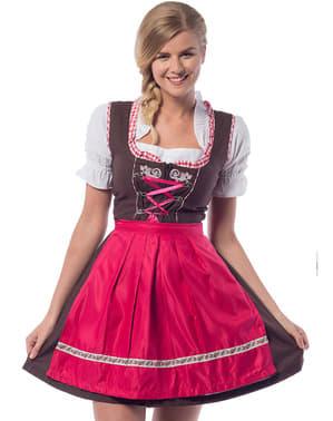 Dirndl Oktoberfest cor-de-rosa e castanho para mulher