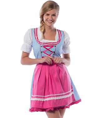 Dirndl Oktoberfest cor-de-rosa e azul para mulher