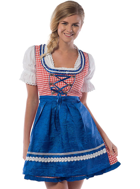 Oktoberfest Dirndl for Women in Blue & Red
