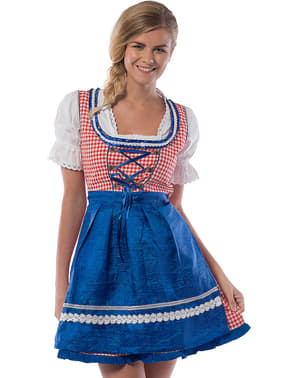 Dirndl Oktoberfest vermelho e azul para mulher